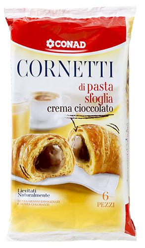Cornetti di pasta sfoglia - crema cioccolato