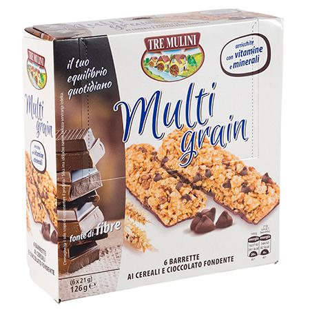 Multi grain 6 barrette ai cereali e cioccolato fondente