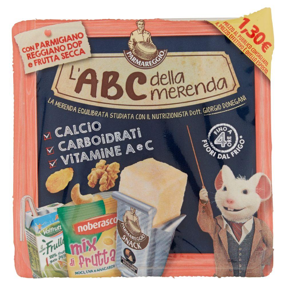 L'ABC della merenda-Parmigiano, misto frutta secca e disidratata, frullato di frutta