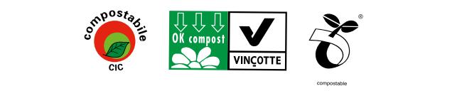 I marchi che contraddistinguono i sacchetti biodegradabili compostabili