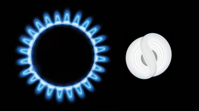fiamma di fornello a gas e lampadina