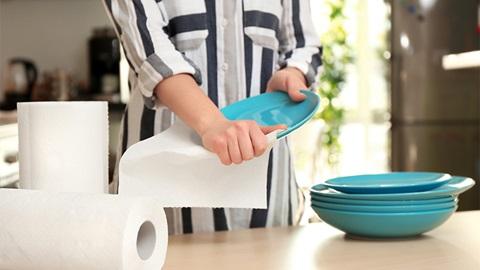 rotoli carta casa e persona con in mano dei piatti