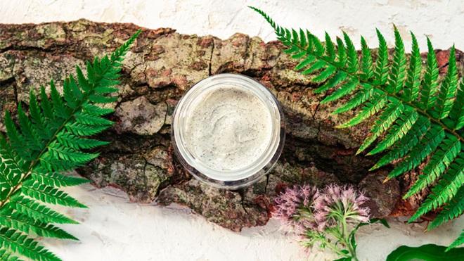 vasetto di crema poggiato su corteccia