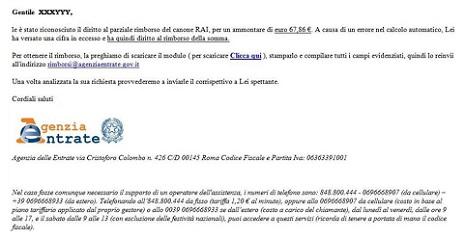 Attenzione alle finte email che promettono il rimborso del canone Rai