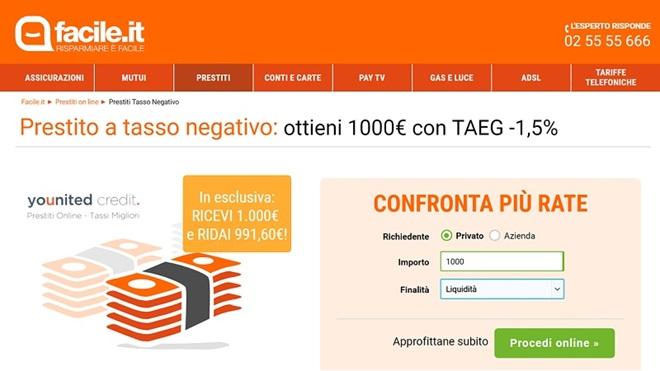 Prestito taeg negativo di Facile.it
